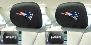 Nfl New England Patriots Head Rest Covers With Embroidered Logos