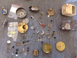 Antique Clock Parts Electric And Mechanical Movements Hands Wheels Clockmakers