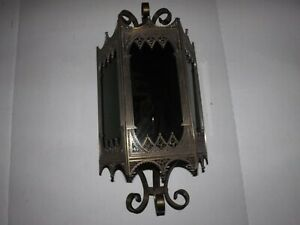 Gothic Arts Crafts Spanish Revival Medieval Smoked Glass Wall Light Sconce