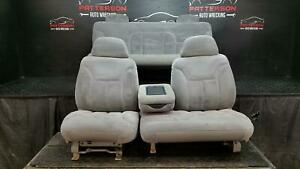 1997 Chevy Pickup 1500 Front Rear 60 40 Power Split Bench Seats Cloth Gray 13d