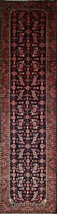 Palace Sized Floral Navy Blue Runner 4x14 Malayer Hamadan Persian Oriental Rug