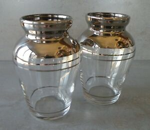Pair Of 4 Art Deco Silver Overlay Urn Shaped Glass Vases