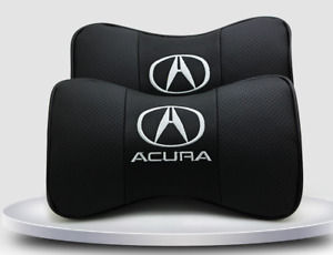 2 For Acura Car Real Leather Car Seat Neck Cushion Pillow Car Headrest Fit
