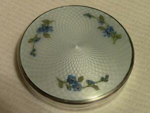 Antique Sterling Silver Guilloche Enamel Compact With Gorgeous Blue Flowers