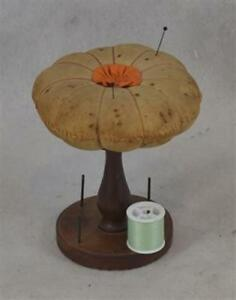Sewing Pin Cushion Table Top Thread Holder Stand Pedestal Early 19th C Antique