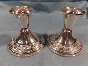Two Gorham Sterling Silver Candle Holders Sticks Chantilly Pattern