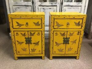 Pair Vintage Chinese Lacquered End Table Cabinet Yellow Distressed 24 Inch Tall