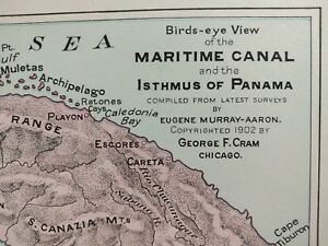 1902 Dated Panama Canal Birds Eye View Vintage Map 14 X11 Old Antique Mapz