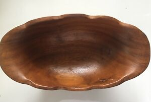 Vintage Scalloped Wood Bowl Oblong Footed 11 Possibly Thailand Or Taiwan