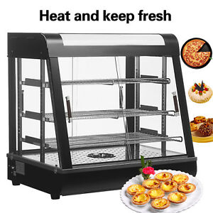 1x Commercial Food Warmer Court Heat Food Pizza Display Warmer Cabinet 27 glass