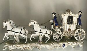 23 6 German Lace Porcelain Figurine Figural Group Carriage Volkstedt Dresden