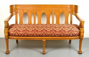 Vintage Empire Egyptian Revival Settee Carved Sofa Bench Winged Figures