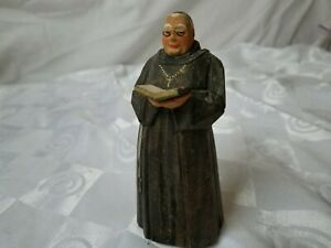 Vintage Switzerland Hand Carved Wood Figure Hans Huggler Wyss Monk With Bible