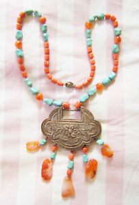 Antique Chinese Silver Lock Necklace Turquoise Coral Figural Agate Repousse