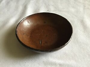 C Antique Pa Redware Small Size Pie Plate 4 Wide