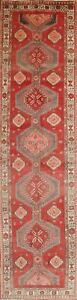 Vintage Geometric Ardebil Persian Hand Knotted 4 X13 Red Grey Pink Runner Rug