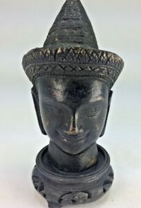 Superb Asian Antique Bronze Head Cabinet Statue