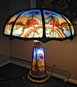 Antique Reverse Painted Eight Panel Lamp W Lighted Base Pairpoint Miller