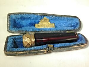 Art Deco C P F Ruby Bakelite Gp Crown Top Cigarette Holder And Case