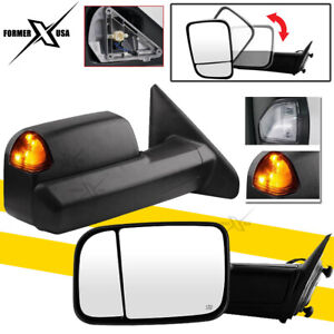 Black Tow Mirrors For 2002 08 Dodge Ram 1500 2500 3500 Power Heated Turn Signals