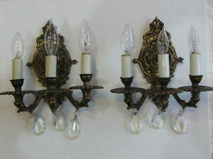Pair Vintage Antique Three Arm Brass Lamp Wall Sconces With 3 Crystal Glass