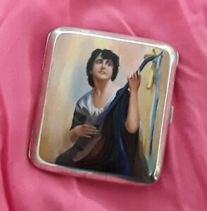 Russian Antique Solid Silver Cigarette Case With Hand Painted Enamel Painting