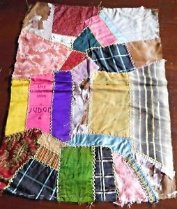 Antique 1895 Crazy Quilt Patch Work Runner Pillow Cover Hand Embroidered 23x17