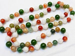 Chinese Vintage Multicolor Jade 9mm Bead Necklace 101 Grams