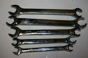 Snap on Tools 12 6 p Broached Double Flare Nut Open End Wrench Set Lot Usa
