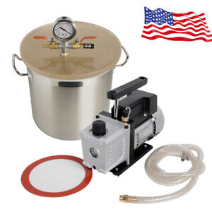 5gallon Stainless Steel Vacuum Chamber Kit Single Or Dual Stage 3cfm Pumps Safe