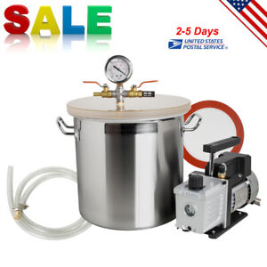 5 Gallon Stainless Steel Vacuum Degassing Chamber 3 Cfm Single Stage Pump Kit