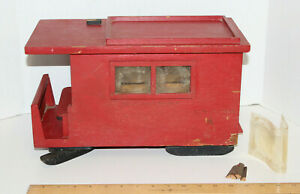 Handmade Primitive Toy Red Wood Snow Sled Sleigh Wagon Black Runners Wood Stove