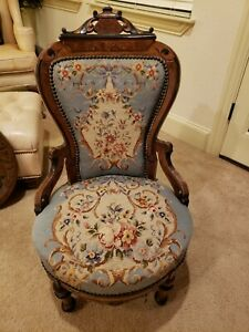 Victorian Upholstered Needlepoint Ladies Parlor Chair