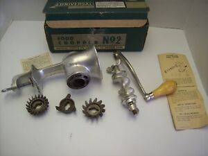 Vintage Universal Food And Meat Chopper Grinder No 2 With 3 Cutters