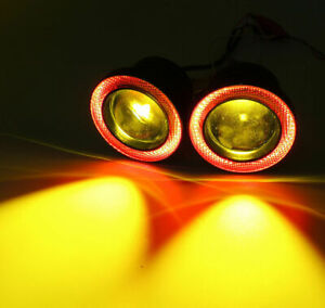 Universal 2 5 Yellow Led Fog Light Projector With Red Cob Angel Eyes Halo Rings