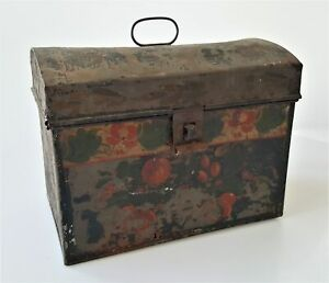 1800s Antique Tole Painted Tin Box Orig Early Paint Lunch 7 5 Aafa Folk Art
