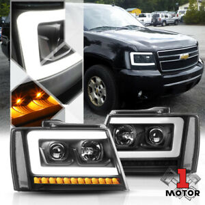 Blk clear Projector Headlight led Bar sequential Signal for 07 14 Suburban tahoe