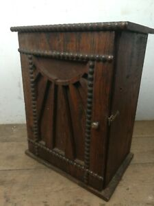 Vintage Elm Wood Arts Crafts Small Wall Cabinet Cupboard Old Brass Knob