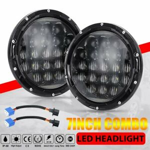 2x 105w 7 Inch Round Cree Led Headlight Hi lo Beam Drl For Jeep Wrangler Jk Tj