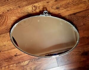 Large Vintage Art Deco 1930s Oval Chromed Framed Bevelled Edge Wall Mirror