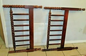 Antique Vtg Jenny Lind Twin Bed With Rails Spindle Mahogany Shade Wood