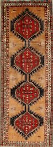 Geometric Tribal Ardebil Persian Vintage Hand Knotted 4x11 Dark Gold Runner Rug