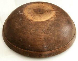 Antique Hand Turned Wood Rimmed Bread Dough Bowl Primitive Country Treen Aafa