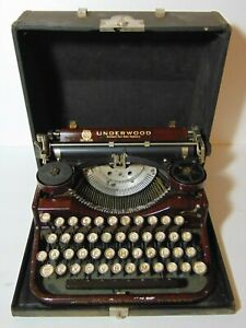 Working Vintage 1930 Underwood Woodgrain Manual Portable Typewriter Sn 4b499490