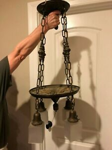 Antique Brass Hanging Ceiling Light Fixture With 4 Shades