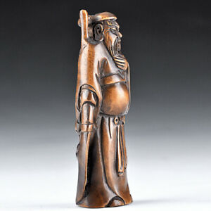 Handmade Netsuke Carving Boxwood Wood Guan Gong Buddhist Fugurine Hanging