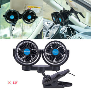 Twin Head Infinitely Variable Speed Air Fan Clip Car Alternative 12v Dc Slient