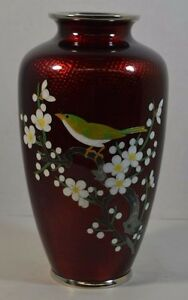 Antique Japanese Red Foil Cloisonne Vase With Bird