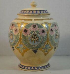 Antique Satsuma Porcelain Ginger Jar With American Floral Decorations