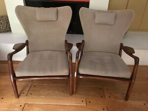 Iconic Mid Century Adrian Pearsall For Craft Associates Wingback Chairs Pair